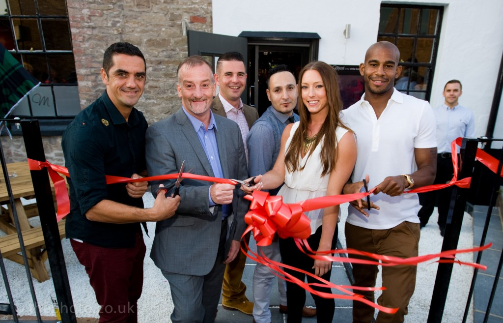 Mezze White Lion opening with former Bristol City player Scott Murray, James Brown, Alex Tryfonos, Jacob Mundez, olympic gymast Imogen Cairns and Bristol city midfielder Marvin Elliot